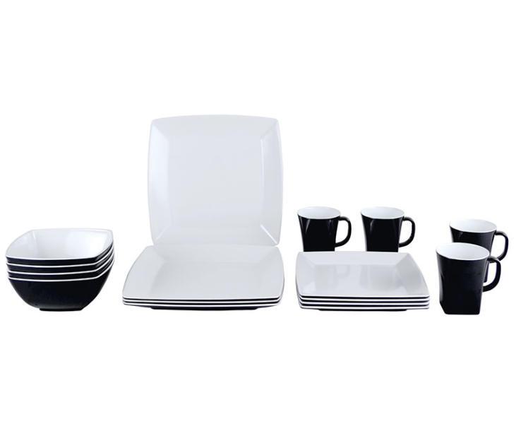 melamin geschirr set quadrato schwarz wei 100 melamin. Black Bedroom Furniture Sets. Home Design Ideas