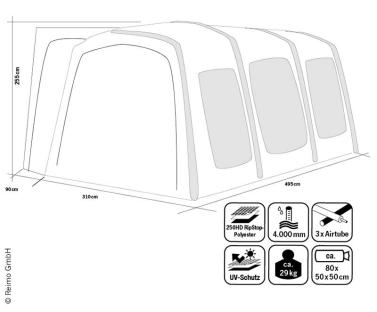 Busvorzelt Movelite 4 Low, Anbauh�he 180-210cm, B310xT495cm