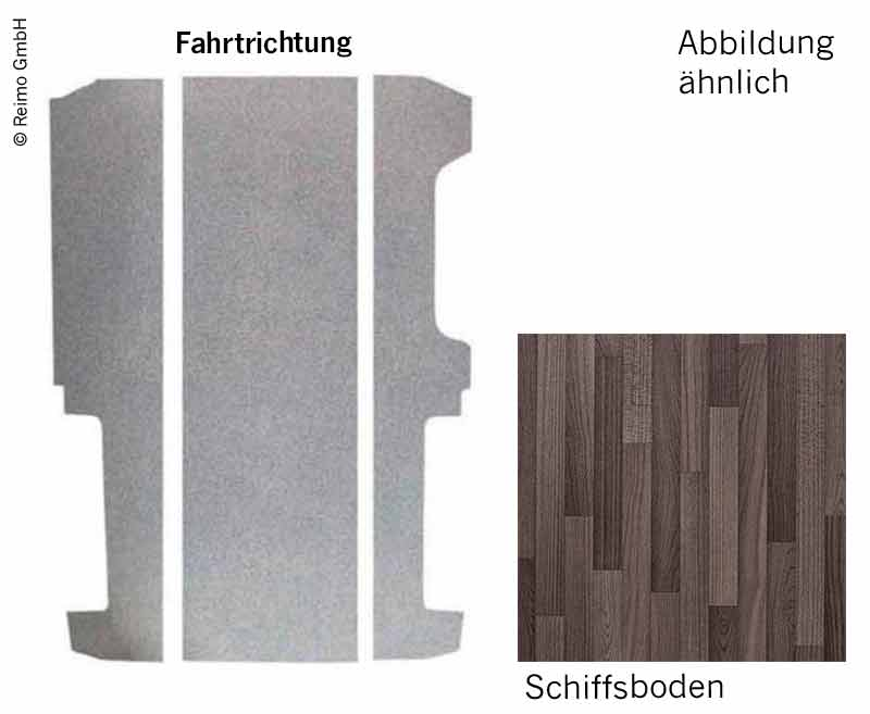 Bodenplatte VW T6/T5 KR V3000 3-teilig, 826mm Dekor Schiffsb. Rechtsl. VW Einst