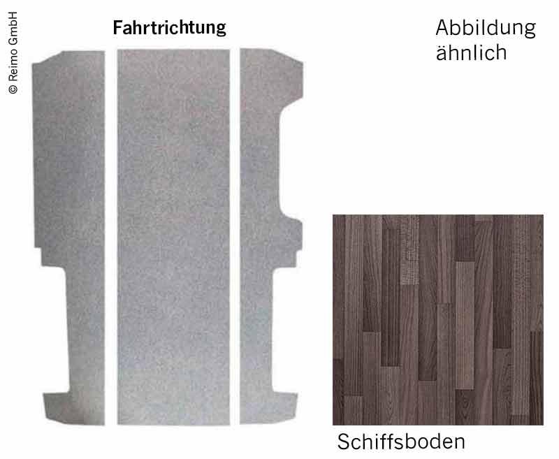 Bodenplatte VW T6/T5 KR V3000 3-teilig, 997mm Dekor Schiffsboden Rechtslenker