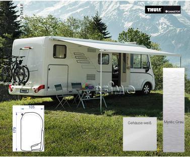 Markise Omnistor 8000 mit Motor weiß, 5m Tuch Mystic Grey