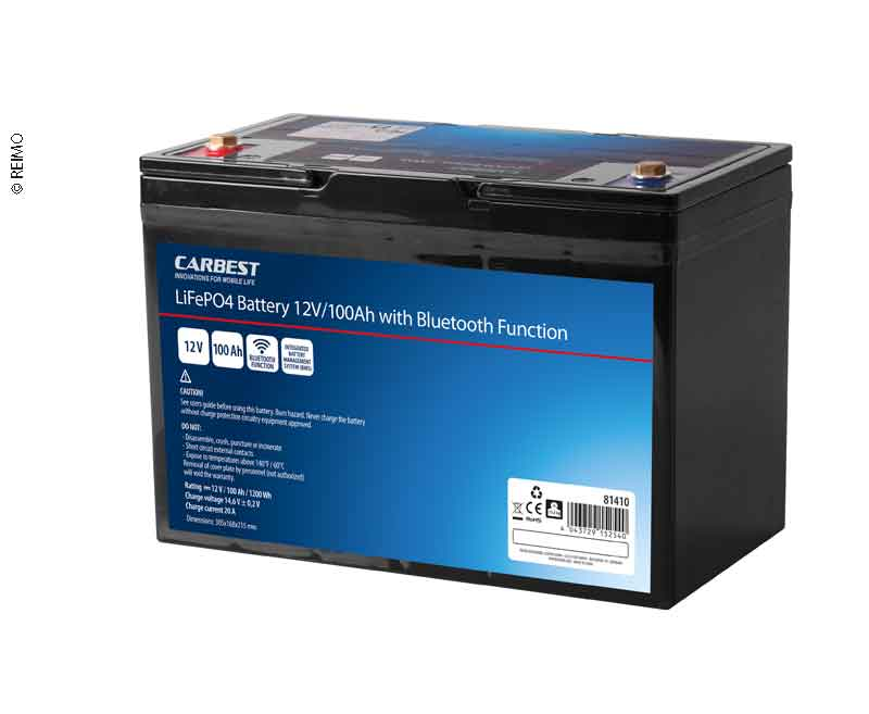 Lithium-Eisen-Phosphat Batterie (LiFePO4), 100 Ah, Carbest, mit Bluetooth