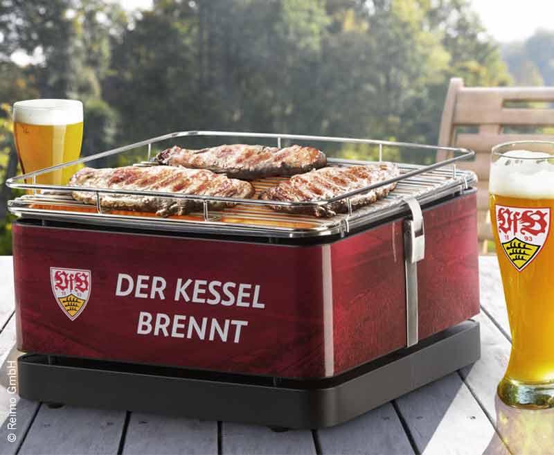 Grill TEIDE 34x34 VfB Stuttgart, Holzkohle, mit Grillzange