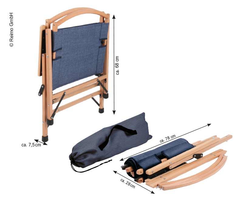 Campingstuhl HOLIDAY TRAVEL, Holzgestell, blau-meliert
