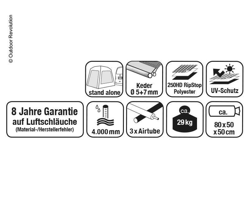 Busvorzelt Movelite 4 High,Anbauhöhe 255-305cm, B310xT495cm