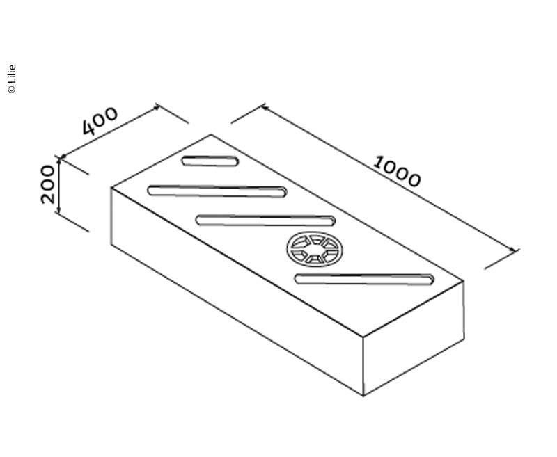 Lilie Universaltank natur, 78L, H200xB1000xL400mm